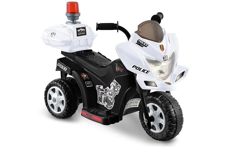 black and white lil patrol 6v ride-on police motorcycle
