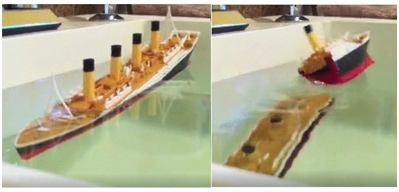 titanic ship sinks and breaks into two